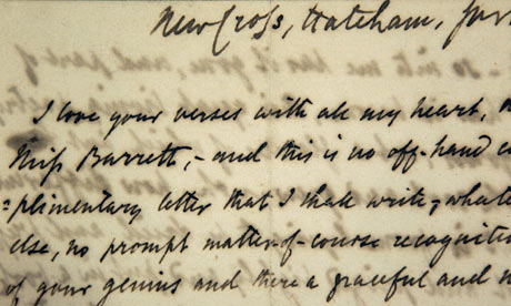 First love letter sent by Robert Browning to Elizabeth Barrett